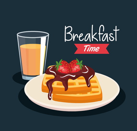 delicious waffles with strawberries and orange juice vector illustration