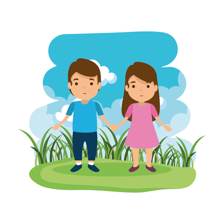 young couple the camp avatars characters vector illustration design