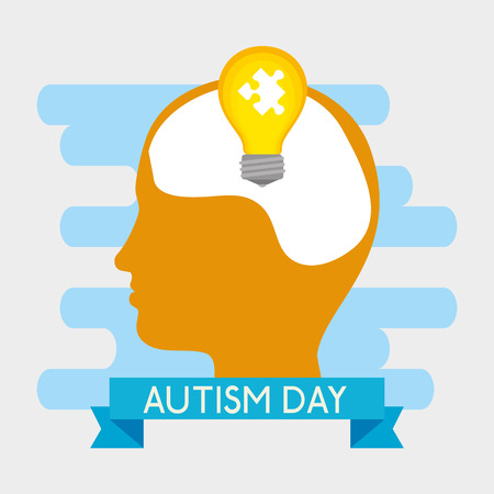 kid silhouette with puzzle inside bulb to autism day vector illustration Illustration
