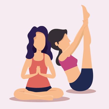 fitness women doing yoga exercise vector illustration
