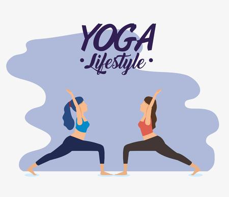 women doing yoga exercise position vector illustration