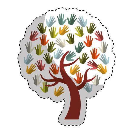 hands print paint around tree vector illustration design