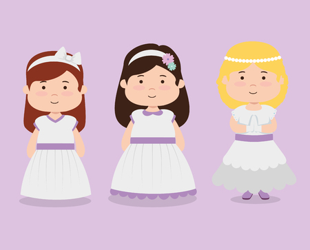set girls with dress and hairstyle to first communion vector illustration design Ilustrace