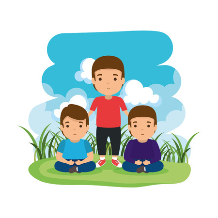father with sons in the camp vector illustration design