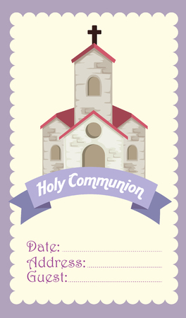 card with church and cross to religion event vector illustration Stock Illustratie