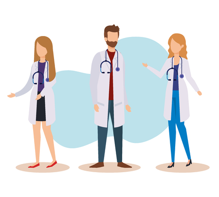 set professional women and man doctors with stethoscope vector illustration