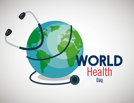 earth planet with stethoscope to health day vector illustration