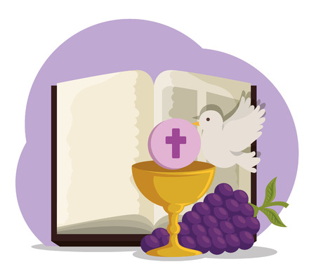 bible with chalice and grapes to first communion vector illustration Stock Illustratie