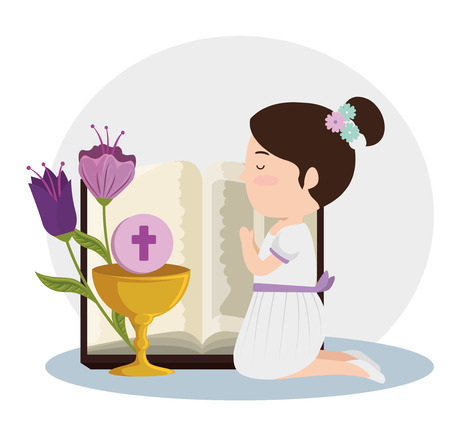 girl with bibble and chalice with holy host to first communion vector illustration