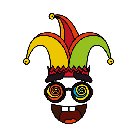 jester hat with glasses and smile fools day icon vector illustration design Stock Vector - 124176190
