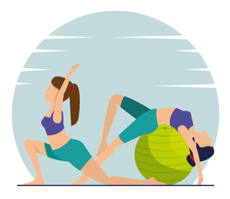 women practice yoga harmony posture vector illustration