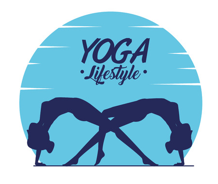 women practice yoga and doing position vector illustration