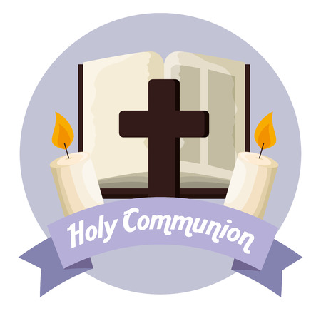catholic bible with cross and candles to first communion vector illustration