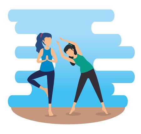 fitness women doing yoga balance vector illustration