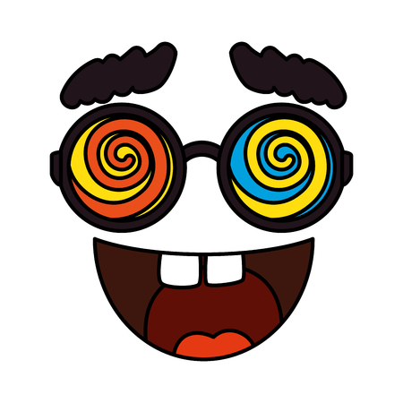 crazy face emoticon icon vector illustration design Çizim