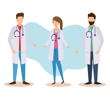 set woman and men doctors with professional stethoscope vector illustration
