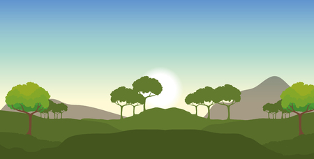 nature landscape with ecology trees and mountains vector illustration
