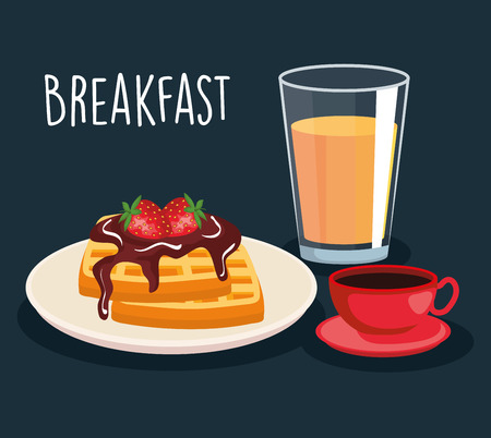 waffles with chocolate sauce and orange juice with coffee vector illustration