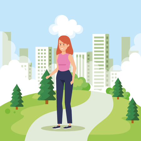 woman in the urban park with casual clothes vector illustration Foto de archivo - 124159935