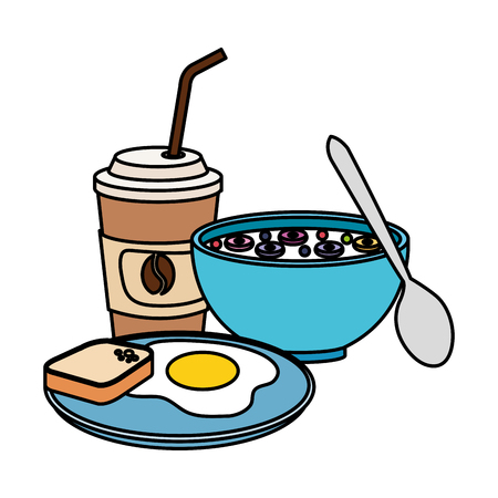 delicious breakfast menu icons vector illustration design Stock Illustratie
