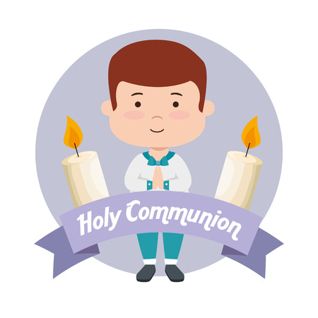 boy with candles and ribbon to first communion vector illustration Stock Vector - 119781895