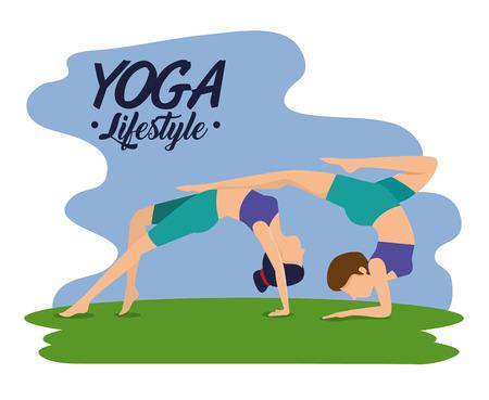 fitness women doing exercise pose vector illustration