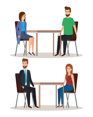 set women and men eating in the restaurant vector illustration