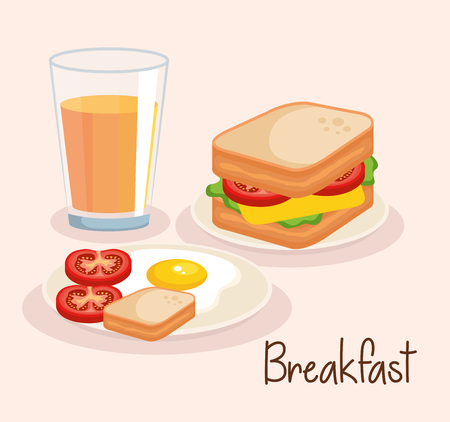 sandwich with orange juice and fried egg vector illustration