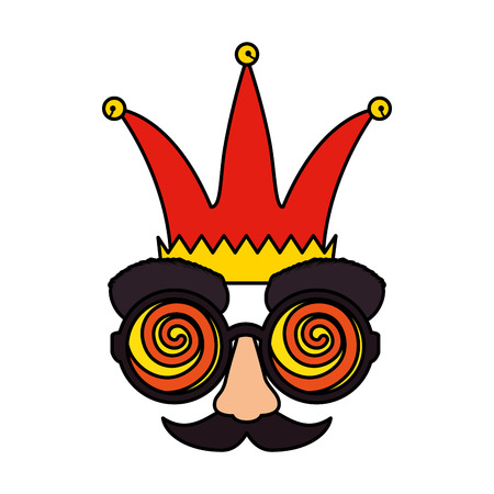 fools day mask glasses and mustache with joker hat vector illustration design Stock Vector - 124159969