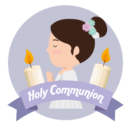 girl with hairstyle and candles to first cammunion vector illustration