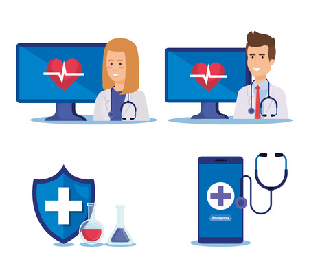 set woman and man doctors with technology service vector illustration Illustration