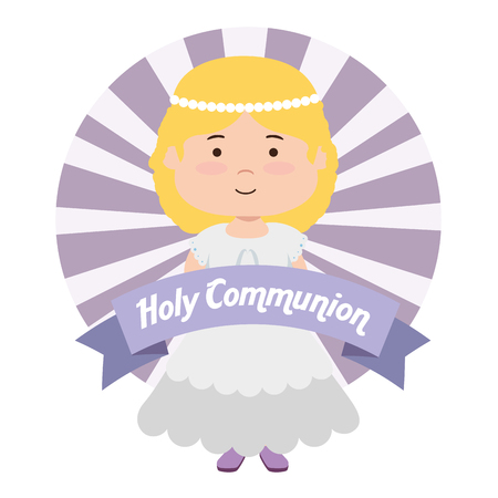girl with hairstyle and dress to catholic event vector illustration