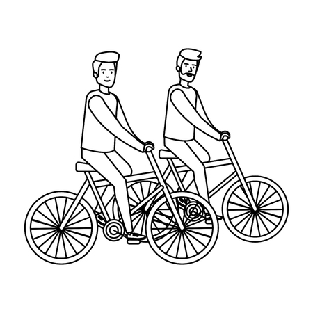 young couple men bike ride characters vector illustration design Illustration
