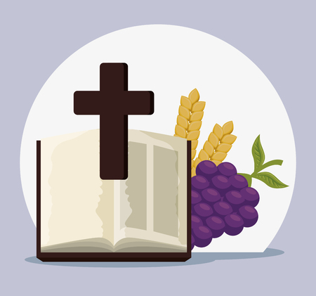 bible with cross and grapes to first communion vector illustration Illustration