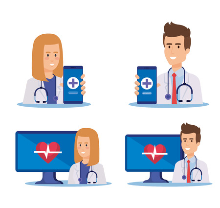 set men and women doctors with technology service vector illustration Illustration