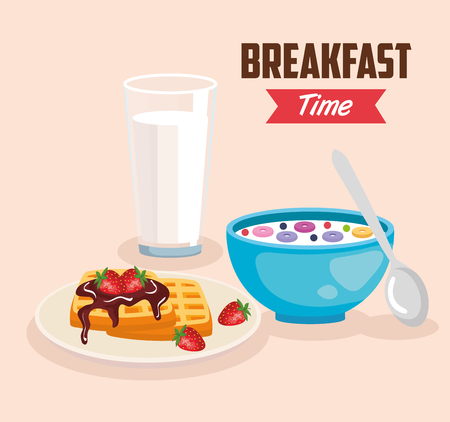 delicious cereal with waffles and milk glass vector illustration