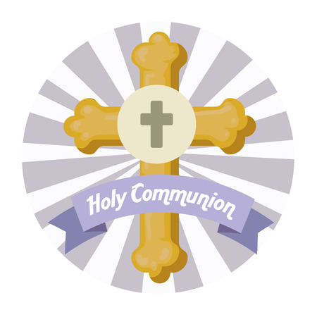 cross with holy host with ribbon to first communion vector illustration