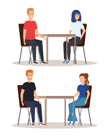 set people eating in the restauran with casual clothes vector illustration