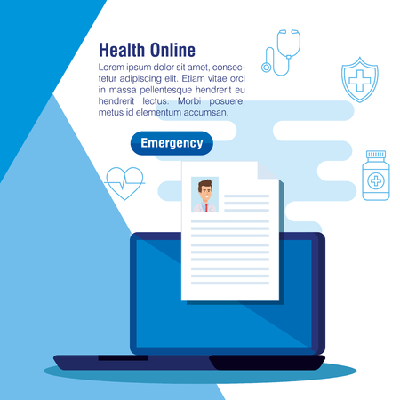 medical laptop technology with man doctor document vector illustration