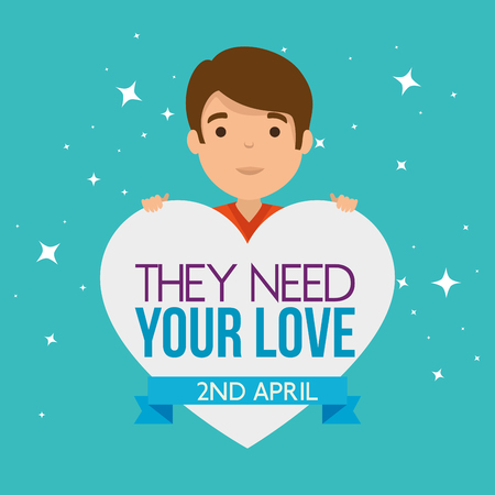 kid with heart and autism message campaign vector illustration