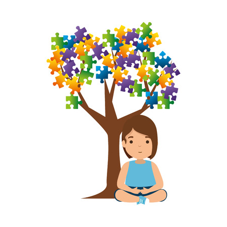 girl with tree puzzle attached vector illustration design Foto de archivo - 119776585