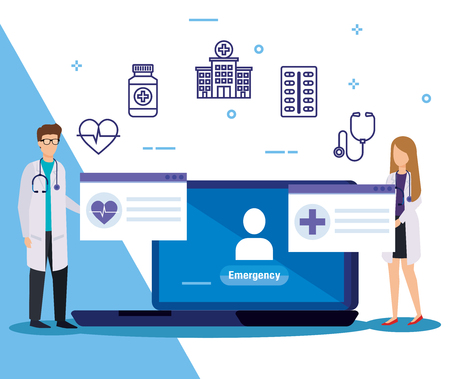man and woman doctors with medical laptop service vector illustration Illustration