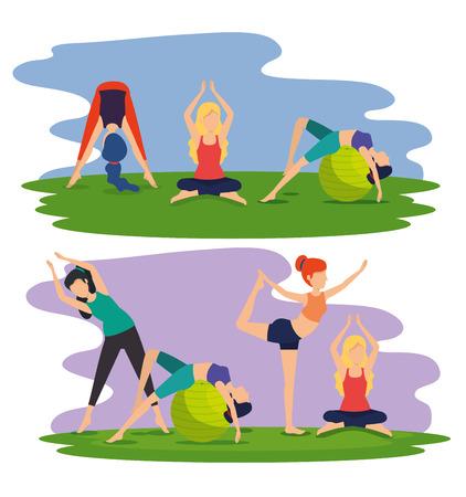 set fitness women training yoga posture vector illustration Illustration