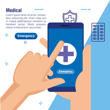 hands with smartphone medical technology to consultation vector illustration