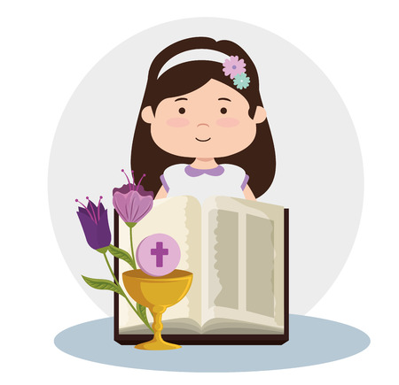 girl with bible and chalice to first communion vector illustration