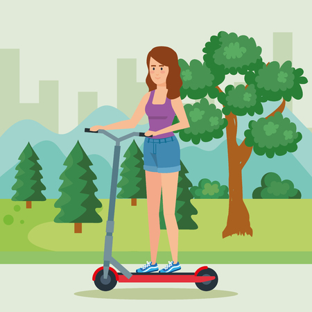 woman riding electric scooter in the park vector illustration Ilustracja