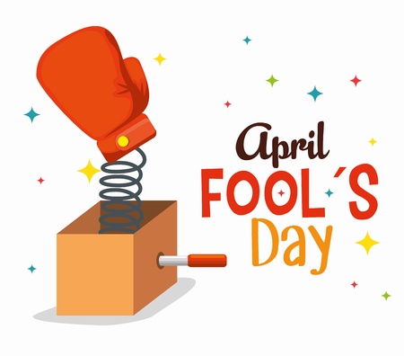 box with boxing glove to fools day vector illustration