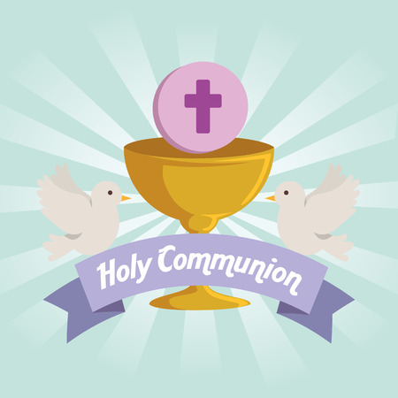 chalice with holy host and doves to catholic event vector illustration