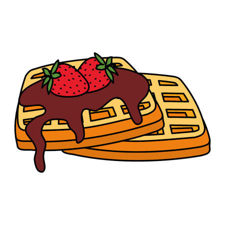 bread toast with chocolate cream and strawberries vector illustration design Banque d'images - 124160056