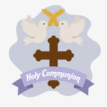 cross with doves and wheats to catholic event vector illustration Illustration
